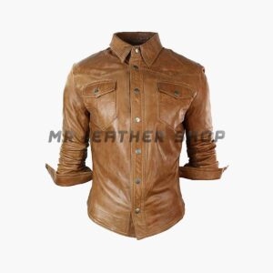 Brown Leather Shirt