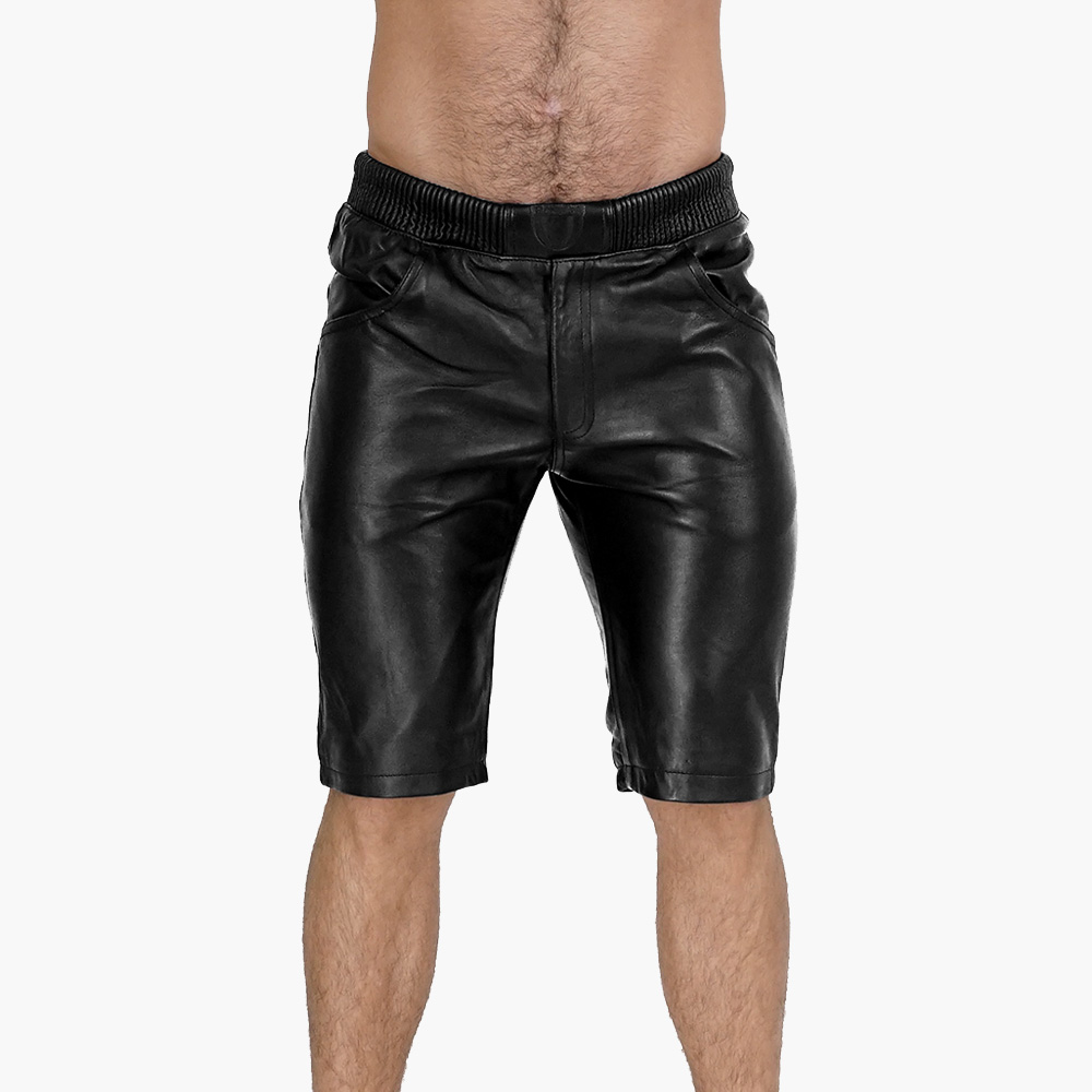 Mens-Black-leather-Shorts