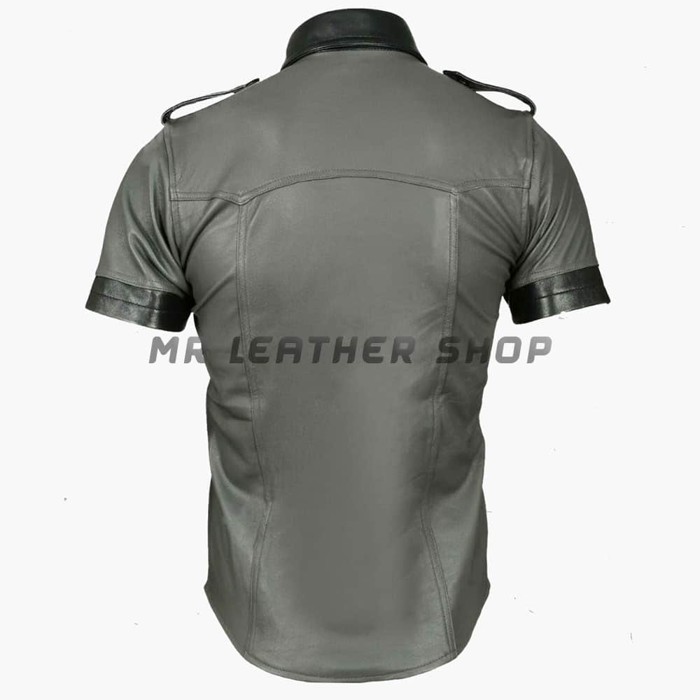 Mens Lambskin Leather Shirt 01